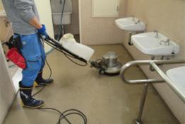 前室床ワックス清掃